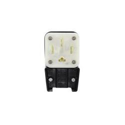 Leviton® 9452-P Angled Straight Blade Power Plug, 125/250 VAC, 50 A, 3 Poles, 4 Wires, Black