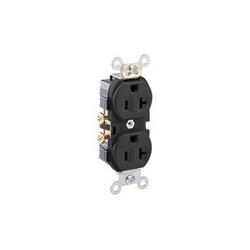 Leviton® CR20-E Straight Blade Duplex Receptacle, 125 VAC, 20 A, 2 Poles, 3 Wires, Black