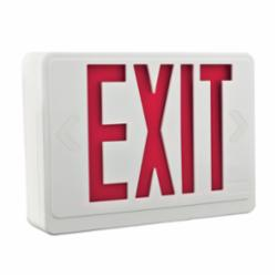 LITH LHQMLEDRM6 LED SINGLE FACE DOUBLE HEAD EXIT SIGN, RED LETTERS, WHITE