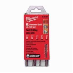 Milwaukee® SECURE-GRIP™ 3-Flat Shank Hammer Drill Bit Set, 5 Pieces, 2-Cutter Head