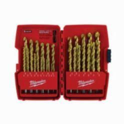 Milwaukee® Thunderbolt® Drill Set, 29 Pieces, Straight Shank, 135 deg Split Point, HSS, Titanium