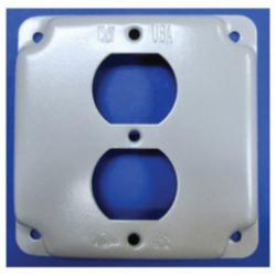 Mulberry 11402 Duplex Receptacle Square Box Cover, 4 in L x 4 in W, Steel