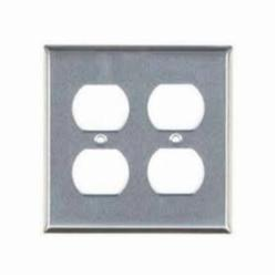 Mulberry 97102 Standard Receptacle Wall Plate, 2 Gangs, 4.5 in H x 4.56 in W, 430 Stainless Steel, Stainless Steel