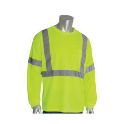 PIP® 313-1300-LY Long Sleeve Crew Neck High Visibility T-Shirt, L, 29.1 in L, Lime Yellow, Polyester Bird Eyes Fabric