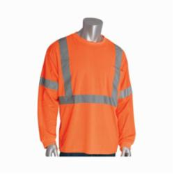 PIP® 313-1300-OR Long Sleeve Crew Neck High Visibility T-Shirt, 2XL, 30.7 in L, Orange, Polyester Bird Eyes Fabric