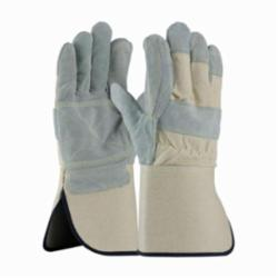 PIP® 80-8866 Heavy Side Men's Leather Palm Gloves, XL, Split Cowhide Leather Palm, White/Gray, Gunn Cut, Wing Thumb