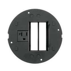PREMISE WIRING SystemOne™ S1SPTRAC Flush Fire Rated Poke Throughs Sub Plate, 4 in Core Hole in Concrete Floor, Black