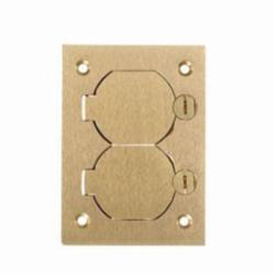 Wiring Device-Kellems S3825 Duplex Flap Rectangular Floor Box Cover, 4.35 in L x 3.1 in W, For Use With Flush Floor Box