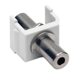 Hubbell Wiring Device-Kellems SNAP-FIT, KEYSTONE,3.5MM STEREO,F/F,WH