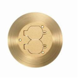 Wiring Device-Kellems SF3925 Duplex Flap Round Cover and Flange, 6-1/4 in L x 6-1/4 in W, For Use With Flush Floor Box
