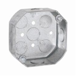 RACO® 125 Octagon Box, Steel, 15.5 cu-in, 9 Knockouts