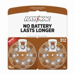 Rayovac® L312ZA-16ZM Hearing Aid Battery, Zinc Air, 1.45 V, 180 mA