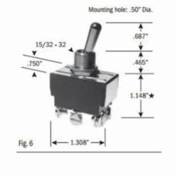 Selecta Products TOGGLE SWITCH, SPDT, OFF-ON-ON, 15 AMP 125VAC, 10 AMP 250VAC, SCREW TERM %