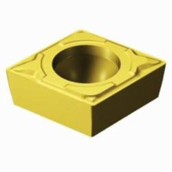Sandvik Coromant Turning Insert, Series: CoroTurn® 111, CPMT Insert, C-80 deg Diamond, 1.5 mm Maximum Depth of Cut, 1/4 in Inscribed Circle, 0.0937 in Thickness, 0.2538 in Length, MF Chipbreaker, 0.0156 in Corner Radius, 0.1102 in Hole Dia, Manufacturer's Grade: 2015, ANSI Code: CPMT 2(1.5)1-MF 2015, ISO Code: CPMT 06 02 04-MF 2015, 80 deg Included Angle, 11 deg Relief Angle, Neutral Hand, Carbide, MTCVD Coated, Material Grade: M