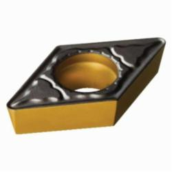 Sandvik Coromant Turning Insert, Series: CoroTurn® 111, DPMT Insert, D-55 deg Diamond, 3 mm Maximum Depth of Cut, 3/8 in Inscribed Circle, 0.1562 in Thickness, 0.4577 in Length, PM Chipbreaker, 0.0156 in Corner Radius, 0.1732 in Hole Dia, Manufacturer's Grade: 4325, ANSI Code: DPMT 3(2.5)1-PM 4325, ISO Code: DPMT 11 T3 04-PM 4325, 55 deg Included Angle, 11 deg Relief Angle, Neutral Hand, Carbide, MTCVD Coated, Material Grade: K/P