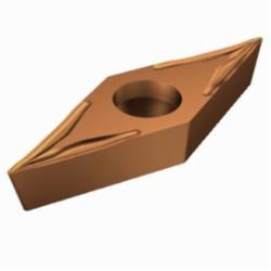 Sandvik Coromant Turning Insert, Basic Shape Positive, Series: CoroTurn® 107, VBGT Insert, V-35 deg Diamond, 1 mm Maximum Depth of Cut, 3/8 in Inscribed Circle, 0.1874 in Thickness, 0.6537 in Length, UM Chipbreaker, 0.0039 in Corner Radius, 0.1732 in Hole Dia, Manufacturer's Grade: 1125, ANSI Code: VBGT 3303-UM 1125, ISO Code: VBGT 16 04 01-UM 1125, 35 deg Included Angle, 5 deg Relief Angle, Neutral Hand, Carbide, PVD Coated, Material Grade: M/N/S