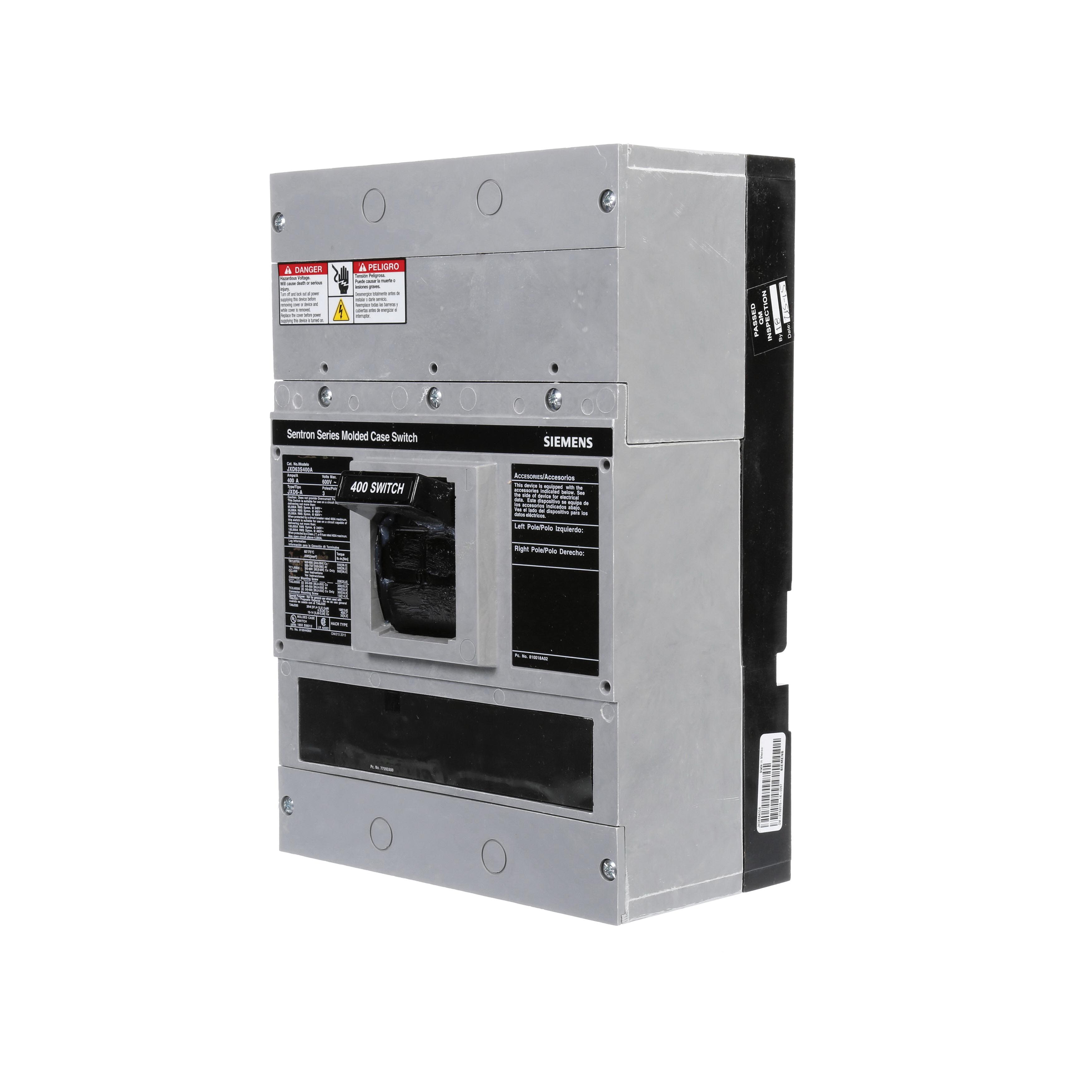 BREAKER JD 3P 400A 600V 25KA FX 50C SW | Steiner Electric Company