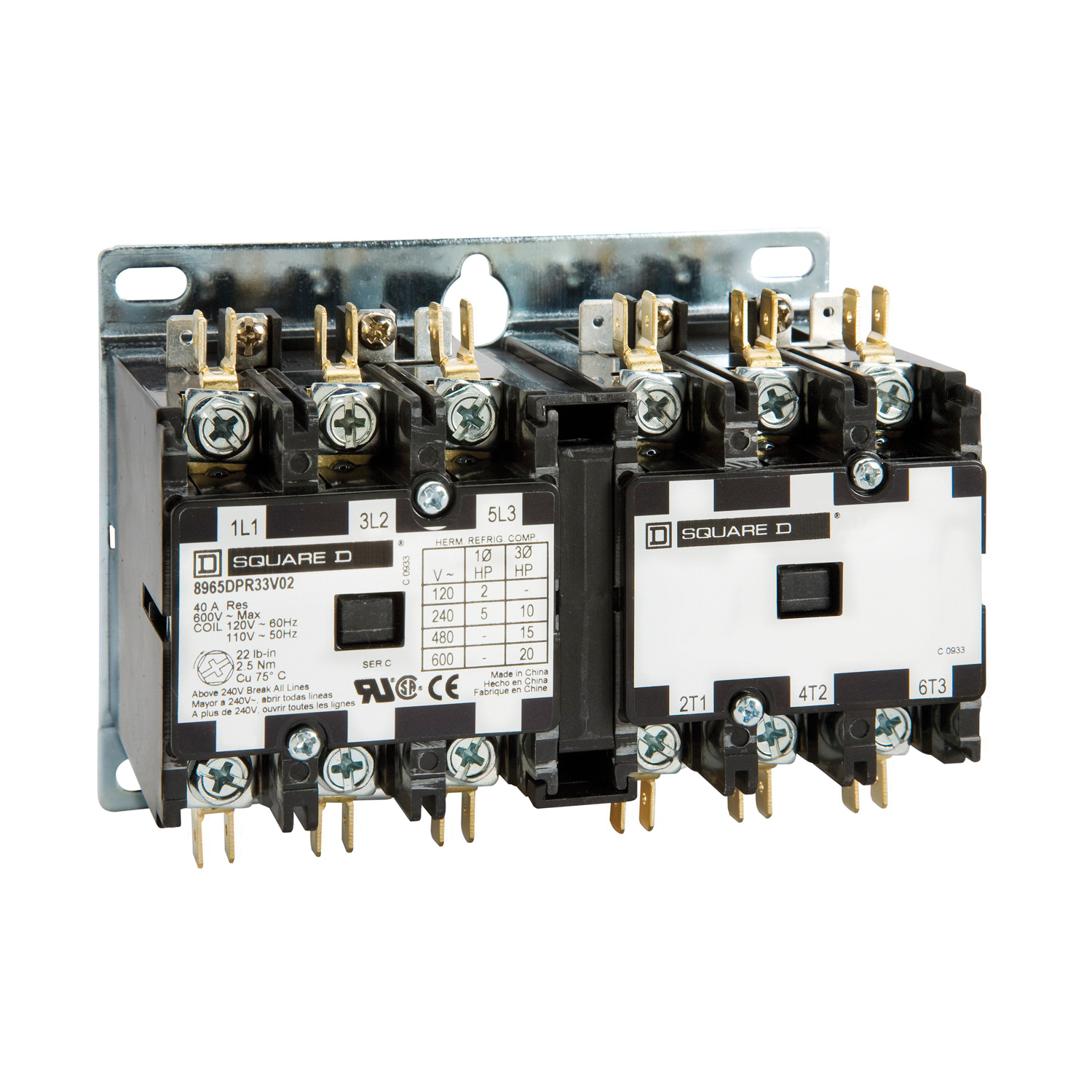 Schneider Electric 8965dpr33v02 Definite Purpose Contactors Ac 240 3 Phase Contactor Wiring Manufacturers Spec Sheets
