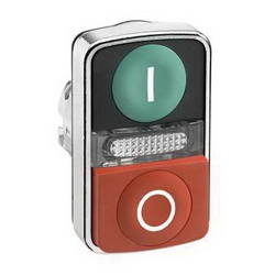Schneider Electric ZB4BW7L3741 METAL ILLUM FLUSH/PROJ TWO BUTTON PILOT GREEN/,(1)Green - (1)Red White I and White O,22mm Rectangular,Dual Button (1)Flush and (1)Extended (with central pilot light),Harmony,Momentary,Non-Illuminated,Pushbutton Operator,UL Listed File Number E164353 CCN NKCR - CSA Certified File Number LR44087 Class 321103 - CE Marked