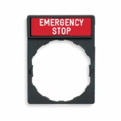 Schneider Electric ZBY2330 STD LEGEND HOLDER MARKED EMERGENCY STOP,-25 to +70 Degrees C,22mm Round,Harmony,IP65,IP65,Pushbutton Legend Holder,Red White EMERGENCY STOP