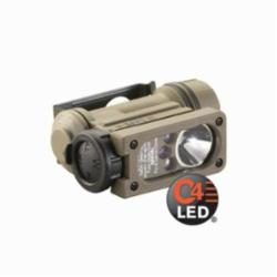 STREAM 14514 Sidewinder Compact II Military Model -White C4 LED, Red, Blue, IR LEDs includes helmet mount, headstrap and CR123A lithium battery. Boxed