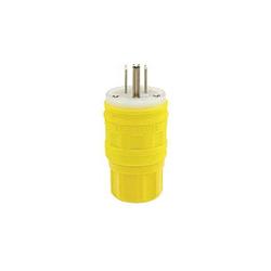 Leviton® Wetguard® 14W47 Straight Blade Plug, 125 VAC, 15 A, 2 Poles, 3 Wires, Yellow