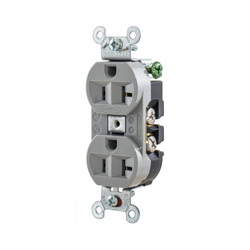 Hubbell Wiring Device-Kellems RCPT, DUP SB, HUBPRO, 20A 125V, SM , GY