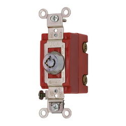 Wiring Device-Kellems HBL1222RKL Extra Heavy Duty Keylock Switch, 120/277 VAC, 20 A, 2 hp