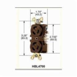 Hubbell Wiring Device-Kellems HBL4750 Grounding Locking Receptacle, 277 VAC, 15 A, 2 Poles, 3 Wires, Brown