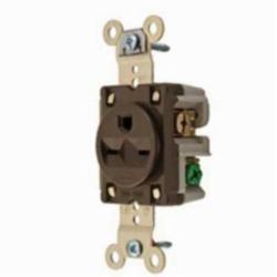 Hubbell Wiring Device-Kellems SGL RCPT, IND GRD, 15A 250V, 6-15R, BR