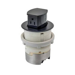 Hubbell Premise Wiring RCT200BK Pop-Up Surface Standard Sized Countertop Receptacle, 1 Gang, 4 in Dia Cover, Composite