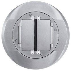 Wiring Device-Kellems S1CFCAL Universal Floor Box Cover, 4 in Dia, 8 in L x 7/16 in W, Aluminum