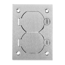 Wiring Device-Kellems SA3825 Duplex Flap Rectangular Floor Box Cover, 4.35 in L x 3.1 in W, Aluminum