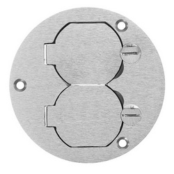 Wiring Device-Kellems SA3925 Duplex Flap Round Floor Box Cover, 3.88 in L x 3.88 in W, For Use With Flush Floor Box