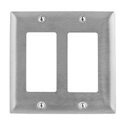 PREMISE WIRING SS262 Standard Wallplate, 2 Gangs, 4.5 in H x 4.6 in W, 302/304 Stainless Steel
