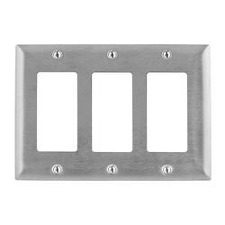 Wiring Device-Kellems SS263 Standard Wallplate, 3 Gangs, 4.5 in H x 6.41 in W, 302/304 Stainless Steel