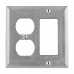Wiring Device-Kellems SS826 Standard Combination Wallplate, 2 Gangs, 4.5 in H x 4.6 in W, 302/304 Stainless Steel