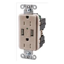 HUBW USB15X2LA RECEP DUP 15A 125V 3A 5V USB PORT LIGHT ALMOND